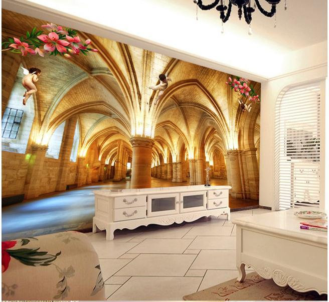 Buy large wallpaper custom marble pillar 3d buildings for Cost of a mural