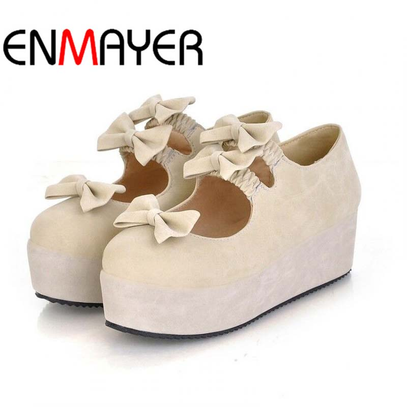 ENMAYER  New Fashion Women Platform Flats Spring Casual Footwear British Style Sweet Bow Shoes Flats от Aliexpress INT