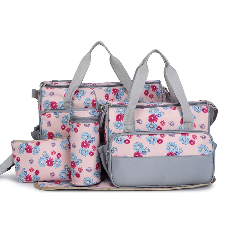 New 5pcs set New Baby Diaper Bag Large Fashion Nappy Bags For Mommy Multifunctional Maternity Stroller Bag Baby Changing Handbag(China (Mainland))