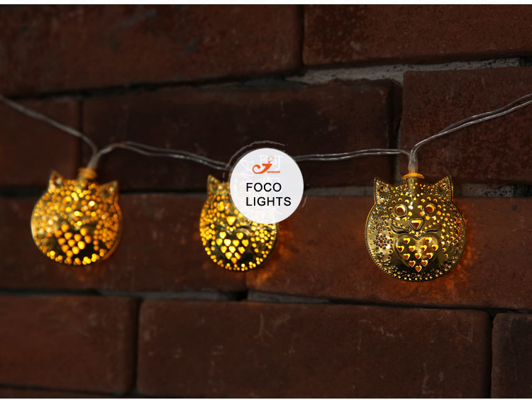 gold metallic smile owl lights coppery metal party fairy light string lighting Festoon Battery operated Strand of 10 lamps(China (Mainland))