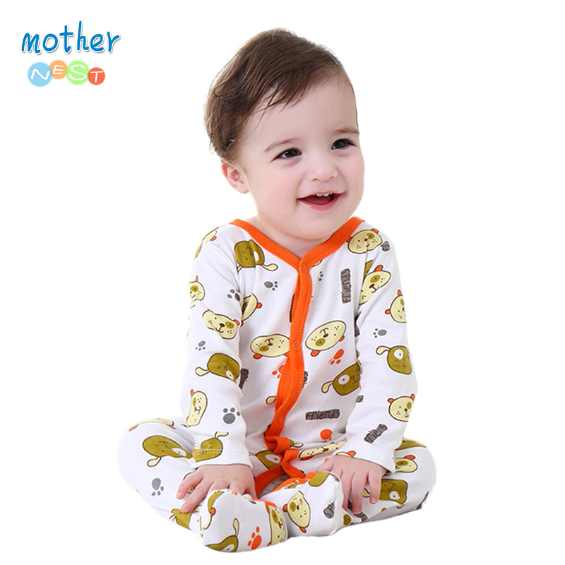 Mother Nest Baby Clothes Boy Spring/Autumn 0-12 M Baby Romper Unisex Winter Bear Printed New Born Baby Clothing(China (Mainland))