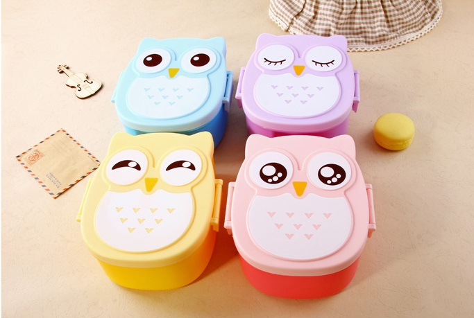 2015 New Arrival cute owl plastic lunch box cute cartoon Cute microwave oven box owl lunch box(China (Mainland))