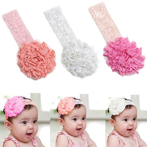 Bluelans Baby Toddler Girl Lace Flower Hair Band Headband Cute Soft Elastic Headdress(China (Mainland))
