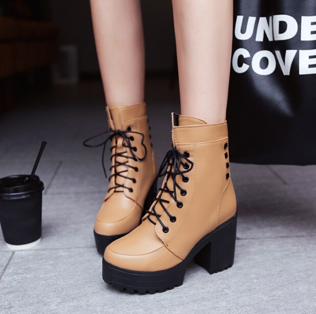 Winter Thick heel lacing-up platform boots women fashion sexy rivet martin boots elegant high-heeled ankle boots