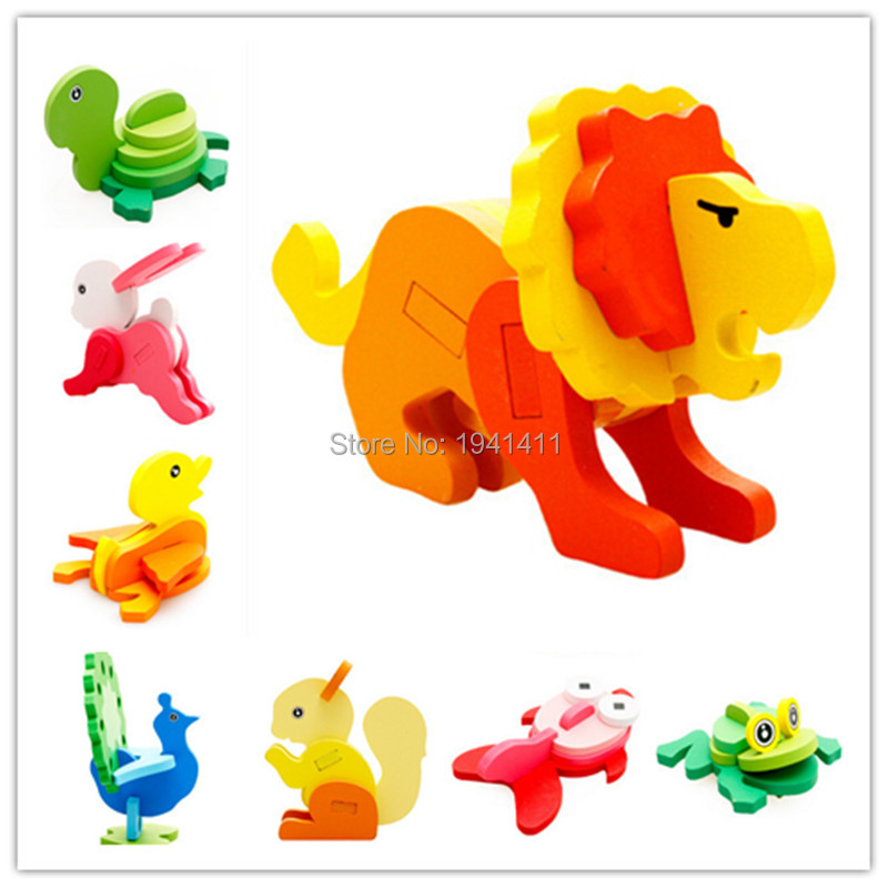 high quality Early Learning creative Cute Animal 3D Wooden Puzzle Jigsaw Puzzles Educational Toys For Children Kids Gift 1 set(China (Mainland))