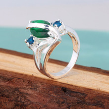 Fashion charm cheap silver rings us size 7 8 9 stock wholesale blue crystal stone ring