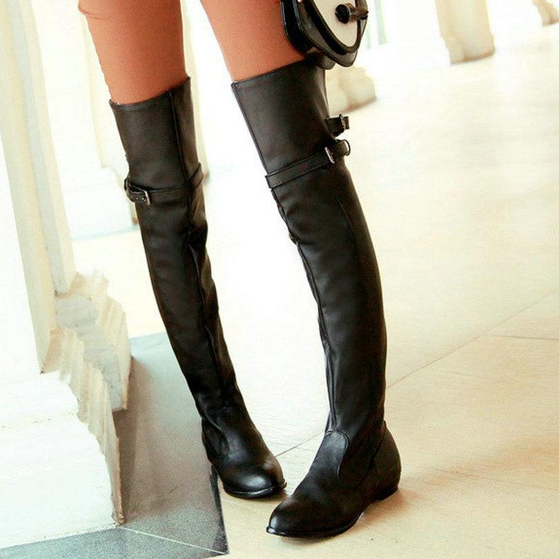 plus size 11 12 black autumn boots square heel