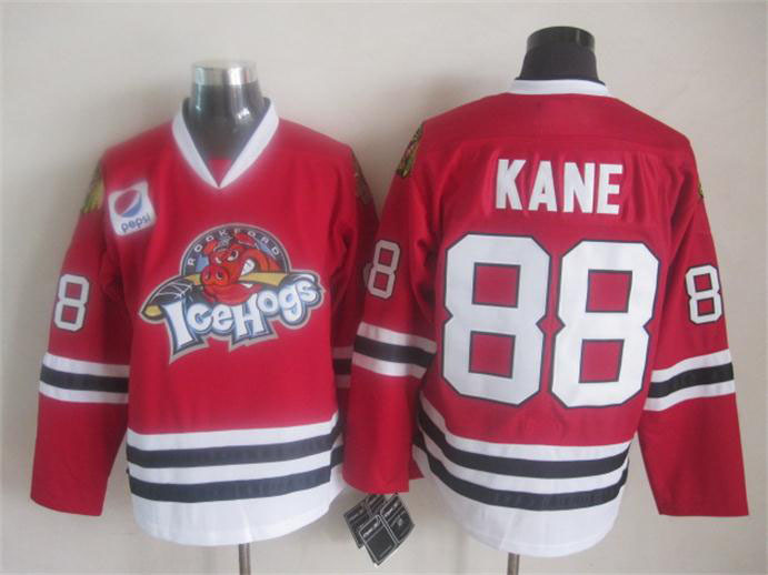 Mens Ice Hockey Jerseys 2015 New Rockford IceHogs Chicago Blackhawks #88 Patrick Kane Red Jersey,100% Stitched logos,Size M-XXXL
