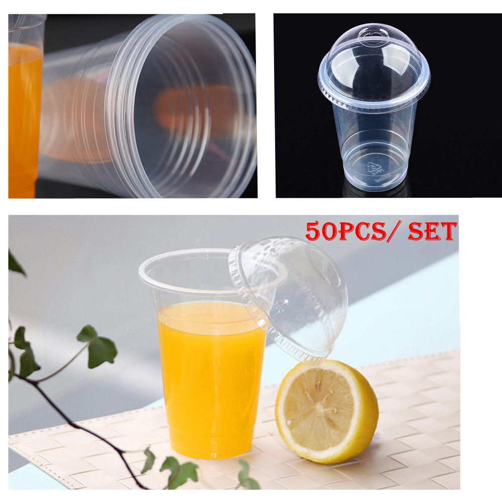 Wholesale 50 pcs / set Clear Disposable Plastic Tea Cup Coffee Cups 16oz(450ml) with Lids for Iced Coffee Bubble Boba Smoothie(China (Mainland))