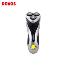 Official POVOS Independent Floating Triple-head Fully Washable  LCD Indicator 1 Hour Quick Charge Men's Electric Razor