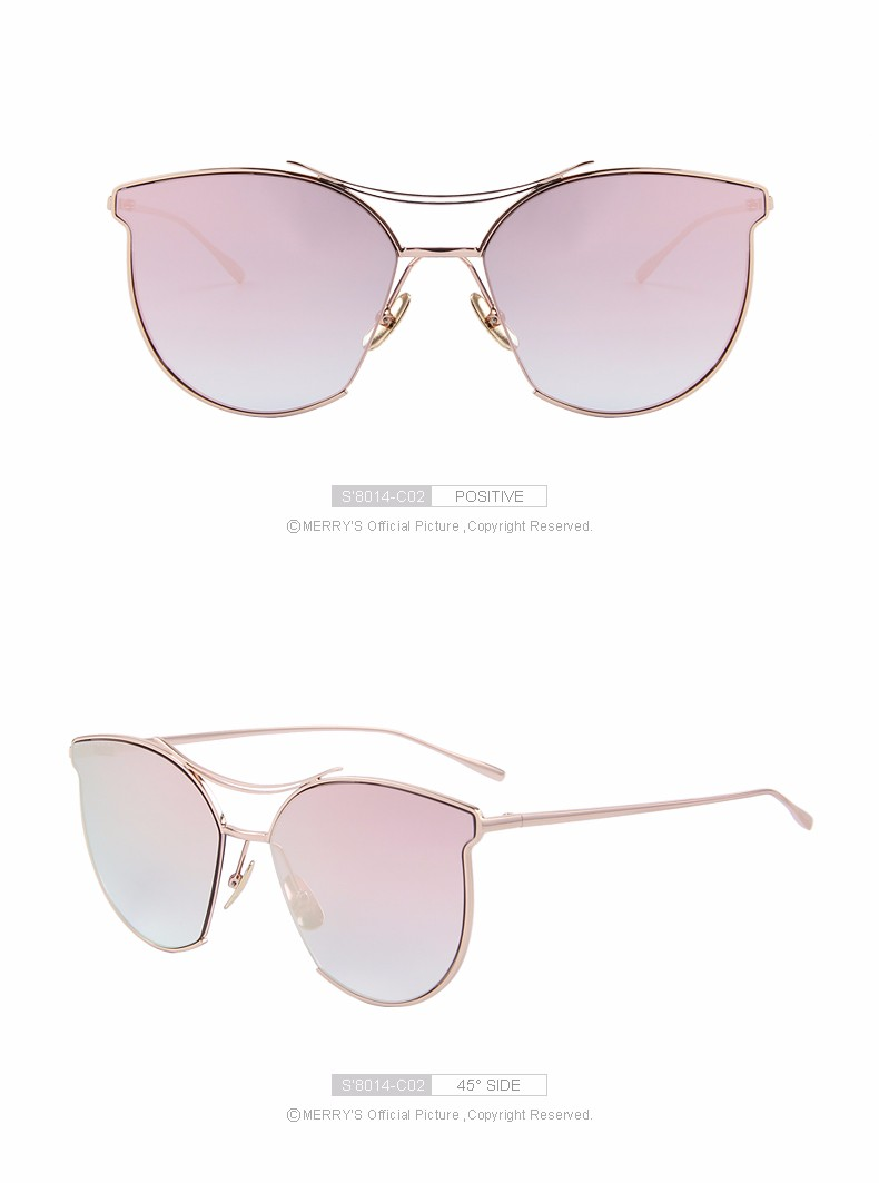 MERRY'S Fashion Sunglasses Women Classic Brand Designer Sun glasses Vintage Twin Beam Metal Frame Glasses S'8014