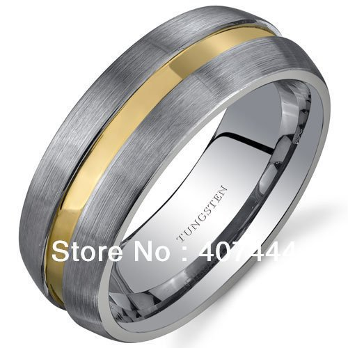 20pcs/Lot Free Shipping USA Hot Selling Brush Rounded Edge 8mm Comfort Fit  Mens Gold Tungsten Wedding Band Ring Sizes 6 to 13 <br><br>Aliexpress