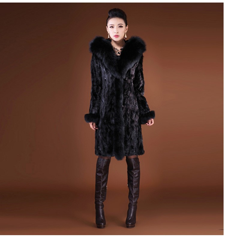 2015 women's slim faux overcoat thickening with a hood large fur collar long design mink hair overcoat outerwear(China (Mainland))
