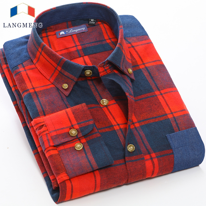 Hot Sale Brands Shirts Men Long Sleeve Plaid Warm Shirt, Outdoor style High Quality 100% Cotton shirts 3XL Size Free Shipping(China (Mainland))