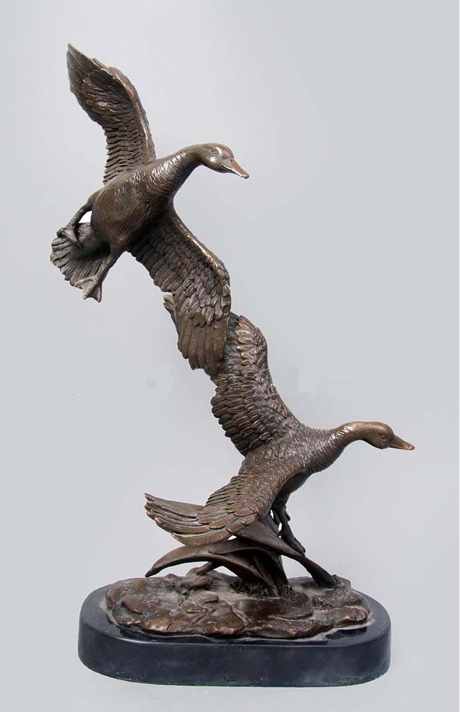 Garden decor statues bronze animal sculpture double ducks Home decor sculptures