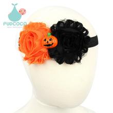 New Halloween Pumpkin Baby Flower Headband Girl Newborn Hair Accessories Elastic Headwear For Kids H111(China (Mainland))