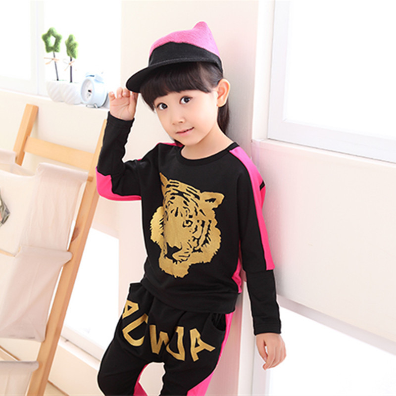The tiger head is sleeved uniforms girl autumn paragraph two sets of children's sport suit children a generation of fat(China (Mainland))
