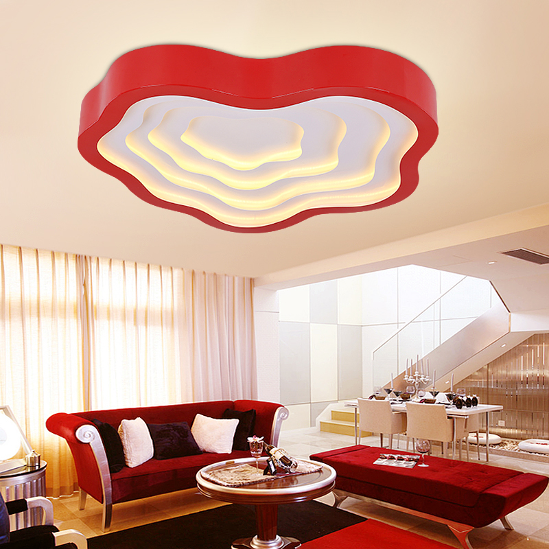 Modern Led Ceiling Light with Red Lamparas De Techo Living Lights Bedroom Acrylic Kitchen Lamp Luminarias Lighting Fixture(China (Mainland))