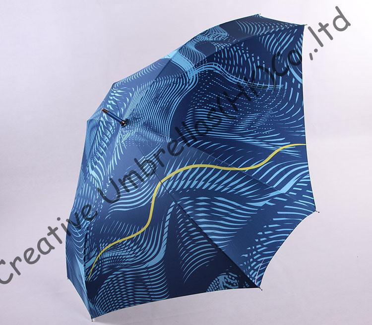 Прямой алюминиевый квадрат umbrellas.14mm синий алюминий/сплав вал и стекловолокна ребра, автоматический открытый, волна воды дизайн, сота
