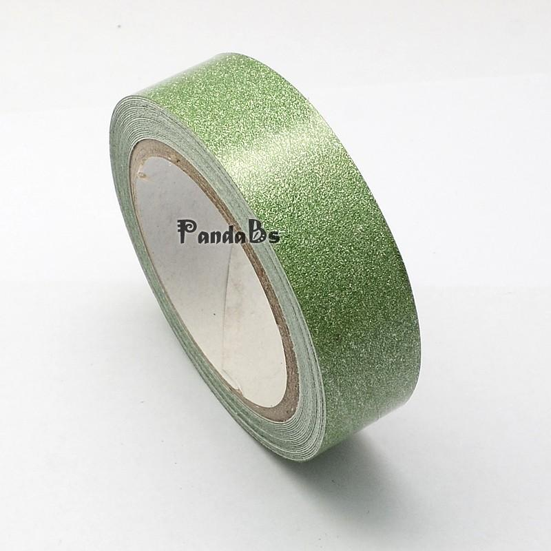Cotton Ribbon, with Glitter Powder, and Adhesive Tape on the Other Side, DarkSeaGreen, 15mm; about 4m/roll(China (Mainland))