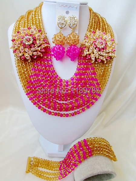 Free Shipping  African Wedding Jewelry Set Costume Nigerian  Crystal Beads Jewelry Set Wholesale A-9199<br><br>Aliexpress