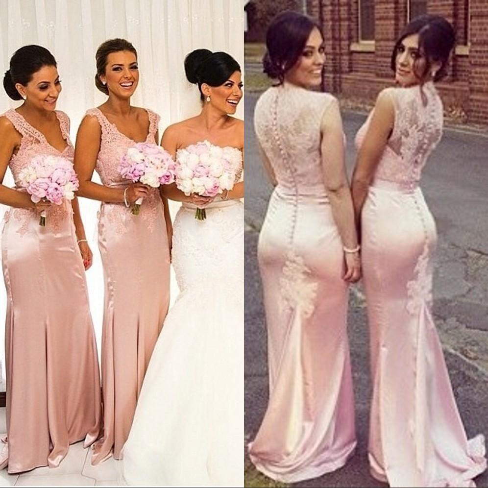 High Quality Peach Bridesmaid Dress with Lace-Buy Cheap Peach ...
