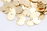 25 Pcs (12mm) Gold Plated Round Charms , Round Disc - Gold Plated Stamping tag , RD , DOM47