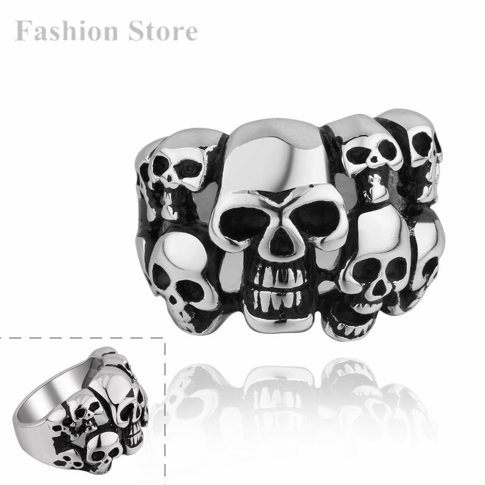 316L Stainless Steel Punk Ring Stylish Skeleton Rings Men Fashion Jewelry R001-8 - Jewels for Women store