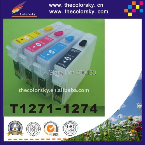 (RCE1271) refill ink cartridge for Epson T1271-T1274 T127 T 127 BK/C/M/Y Stylus NX625 Workforce 630 (with ARC chip) free DHL