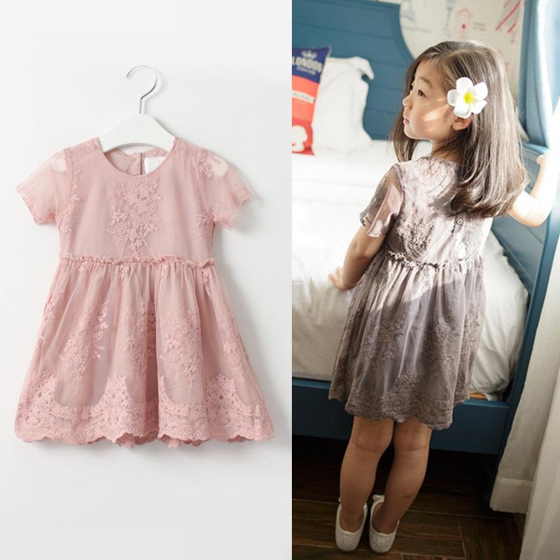 2016 New Arrival Girls lace princess dress Baby Girls Party princess chiffon toddler lace dress Children clothing(China (Mainland))