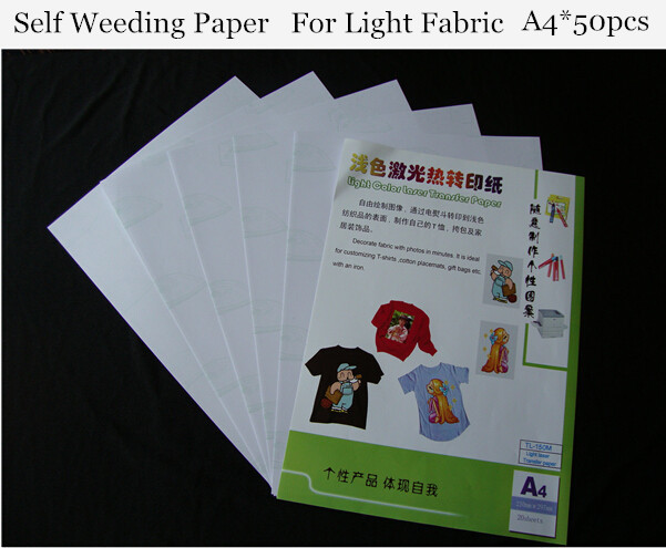 (A4*50pcs) Self Weeding Paper Light Laser Printer A4 Heat Transfer Paper For T shirt Thermal Transfers Papel Used on Fabric 150M(China (Mainland))