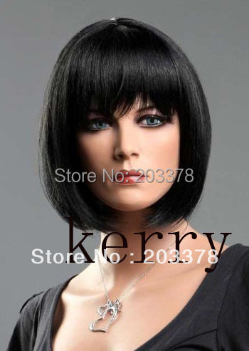 Capless Short Bob High Quality Synthetic Black Straight Hair Wig Free Shipping