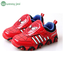 Kids sport shoes 2016 Spring spiderman lighted shoes Flash Fashion Sneakers toddlers brand girls shoes led kids sport shoes boys(China (Mainland))