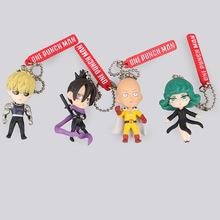 One Punch Man Saitama Genos tatsumaki Keychain 4pcs/set Cute 5cm Dolls Anime PVC Action Figure Kids Gift(China (Mainland))