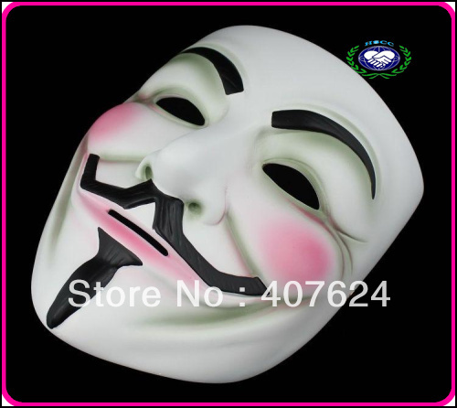 Freeshipping 20pcs/lot, hot sale halloween resin movie mask, guy fawkes mask( white and bronze color )(China (Mainland))