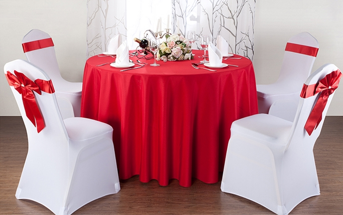 Red table linen round banquet,polyester table cover,for wedding,hotel and restaurant round tables decoration,200GSM thick fabric(China (Mainland))