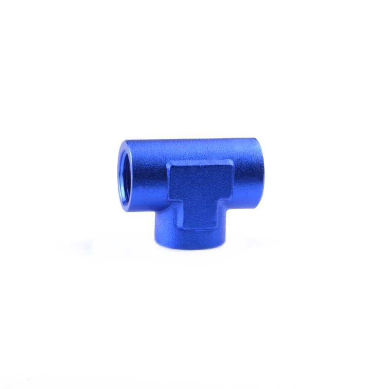 """Aluminum Female 1/4"""" NPT Pipe Thread Blue Anodized Finish Tee Fitting Adapter Fuel/Oil/Radiator/Water Hose End Fitting(China (Mainland))"""