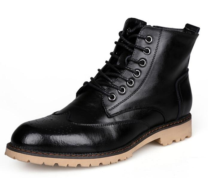 Quality Fashion New British Men Boots Casual High-top Boots Lace 100% Genuine Leather Boots botas masculinas chuteirafashion(China (Mainland))