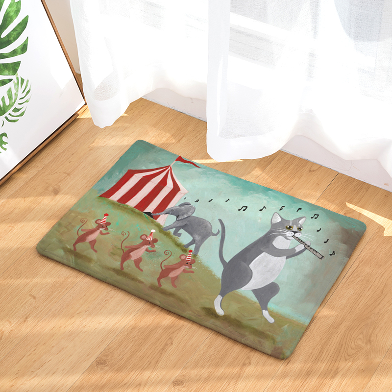 Cartoon Flannel Carpet Cat Daily Printing Mat For Living Room 40x60cm  50X80cm Door mat Rectangle Tapete - us91 3bd10e75b5