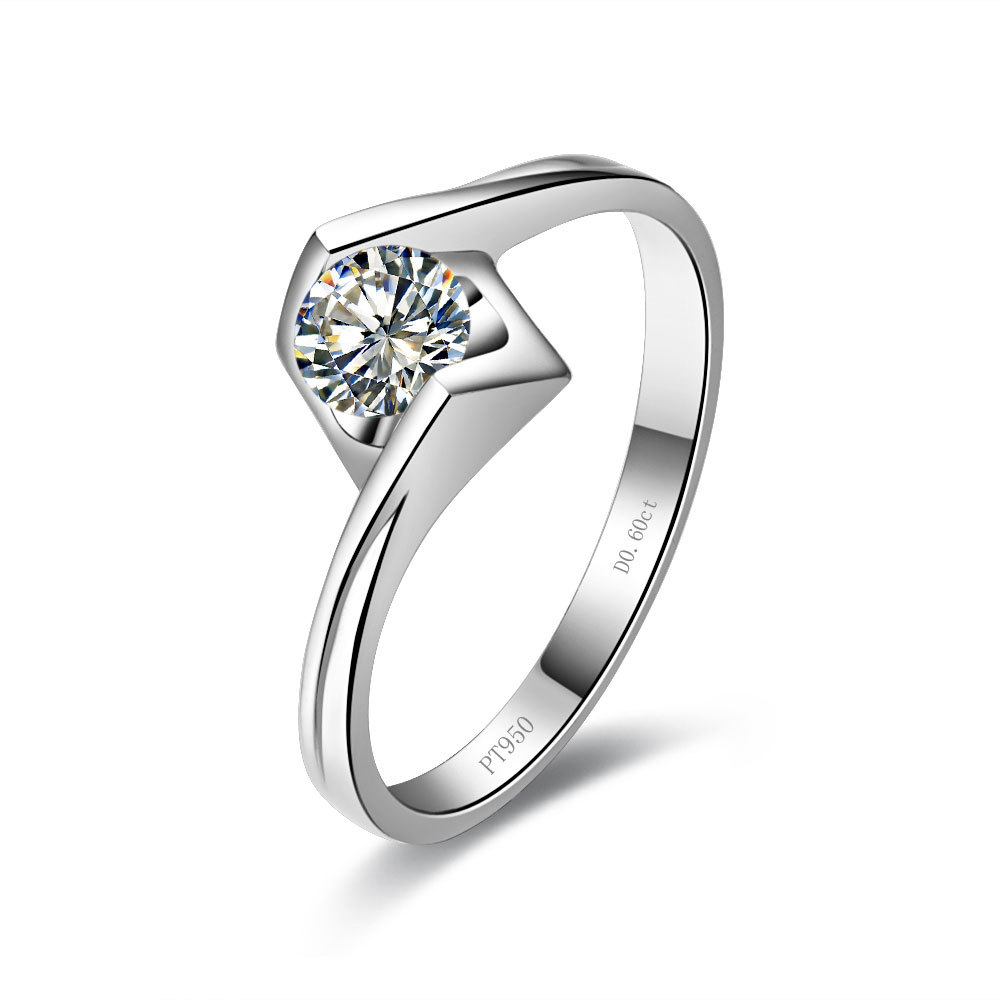 Angels Brilliance Forever 0.5Ct Moissanite Engagement Proposal Ring Genuine 14K White Gold Ring Jewelry Valentine for your Lady(China (Mainland))