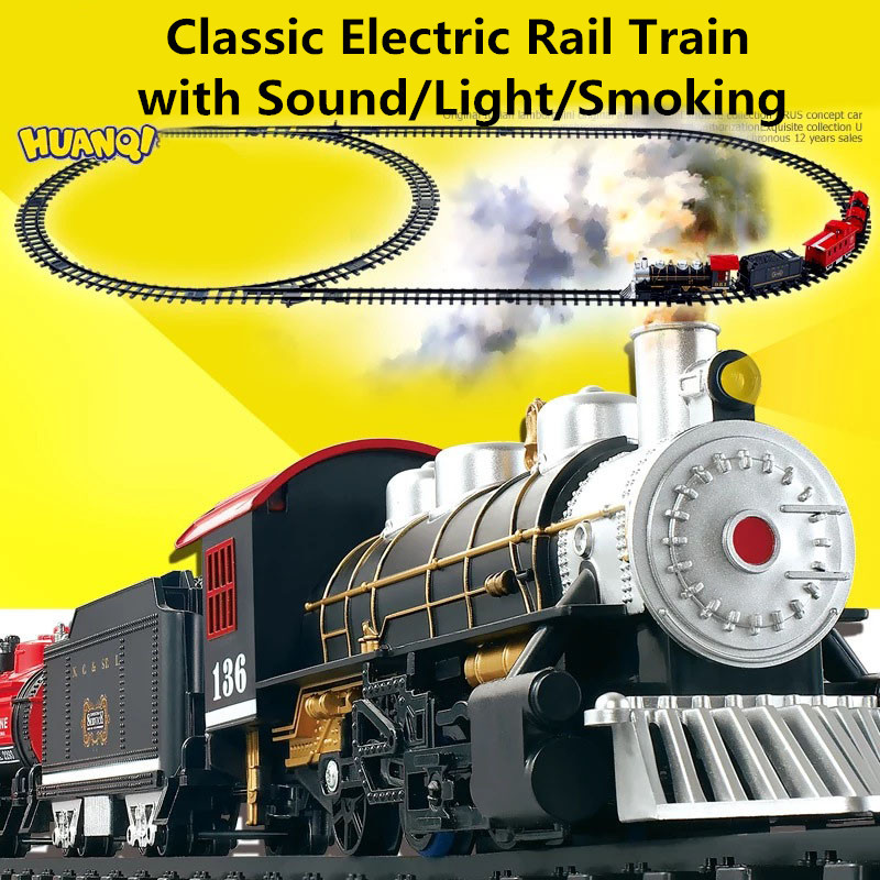Classic toys Battery Operated Railway Rail Train Electric Toys Railway Car with Sound&Light&Smoking Rail Car for Children(China (Mainland))