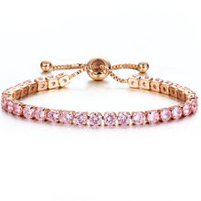 Luxury สีสันสร้อยข้อมือคริสตัลสำหรับงานแต่งงาน Silver สร้อยข้อมือ Rhinestone Charm กำไล(China)