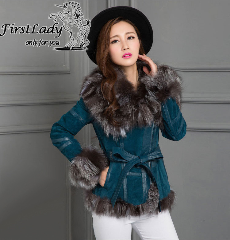 Real fox collars real leather jacket 7