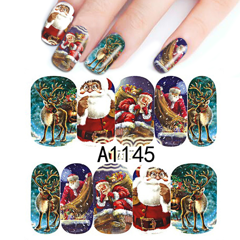 1Sheet Colorful Christmas Design Full Wraps Nail Art Stickers Watermark Nail Stickers Nail Art Decorations Decals A1145(China (Mainland))