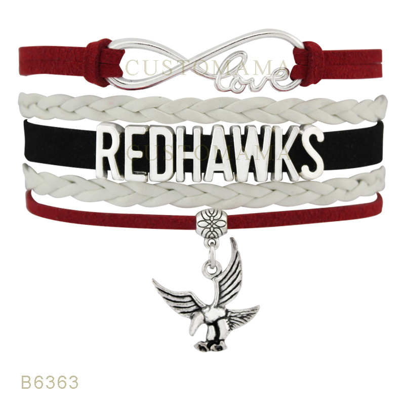 (10 PCS/Lot) Infinity Love Seattle Football Redhawks Charms Bracelets For Women Jewelry Red White Suede Leather Wrap Bracelets(China (Mainland))