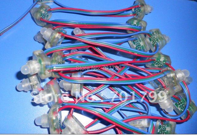 WS2811 LED pixel node, DC5V input, full color RGB string,50pcs a string,IP68 rated