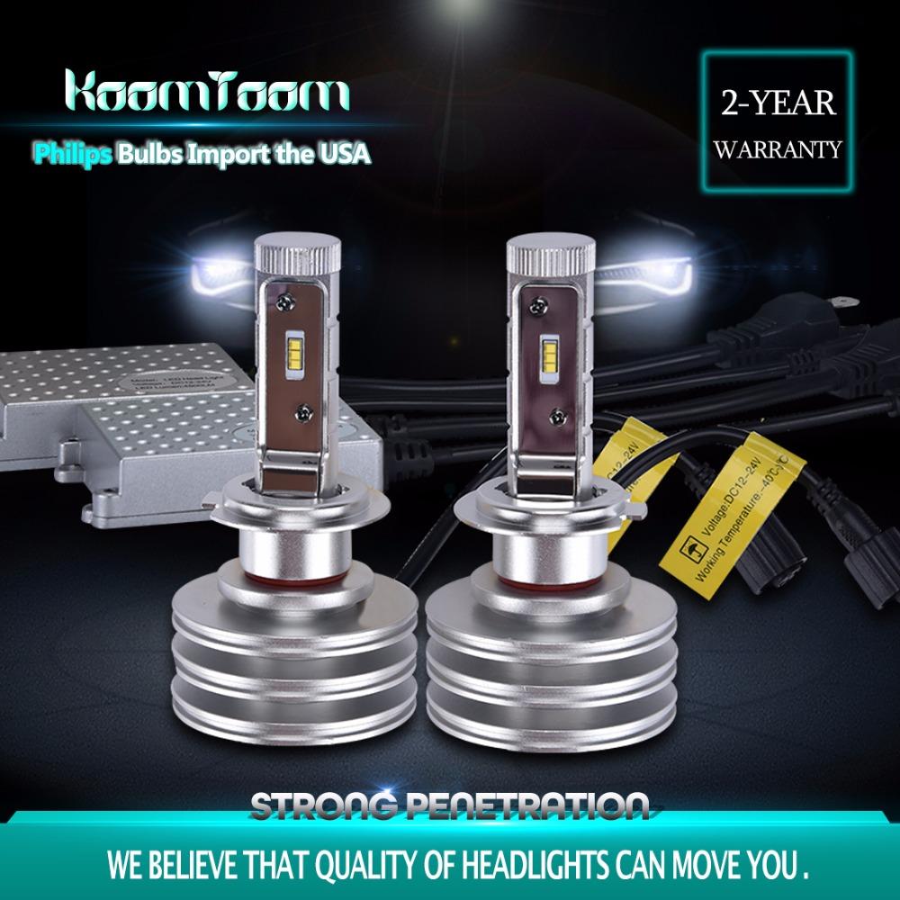 2 PCS/Lot H7 80W 6500K 4500LM Headlight Bulbs Kits for Cars with Philips Bulbs by KOOMTOOM External Lights high or Low Beam(China (Mainland))