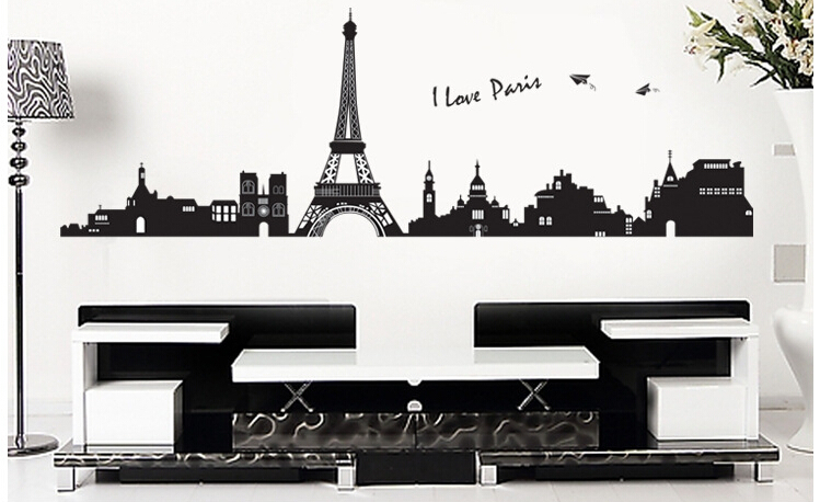 paris eiffel tower wall sticker home decor kitchen wall decor wall stickers for kids rooms bathroom for removable sticker decal(China (Mainland))