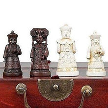 Chinese wood Leather box with 32 Warrior Chess Set Free shipping