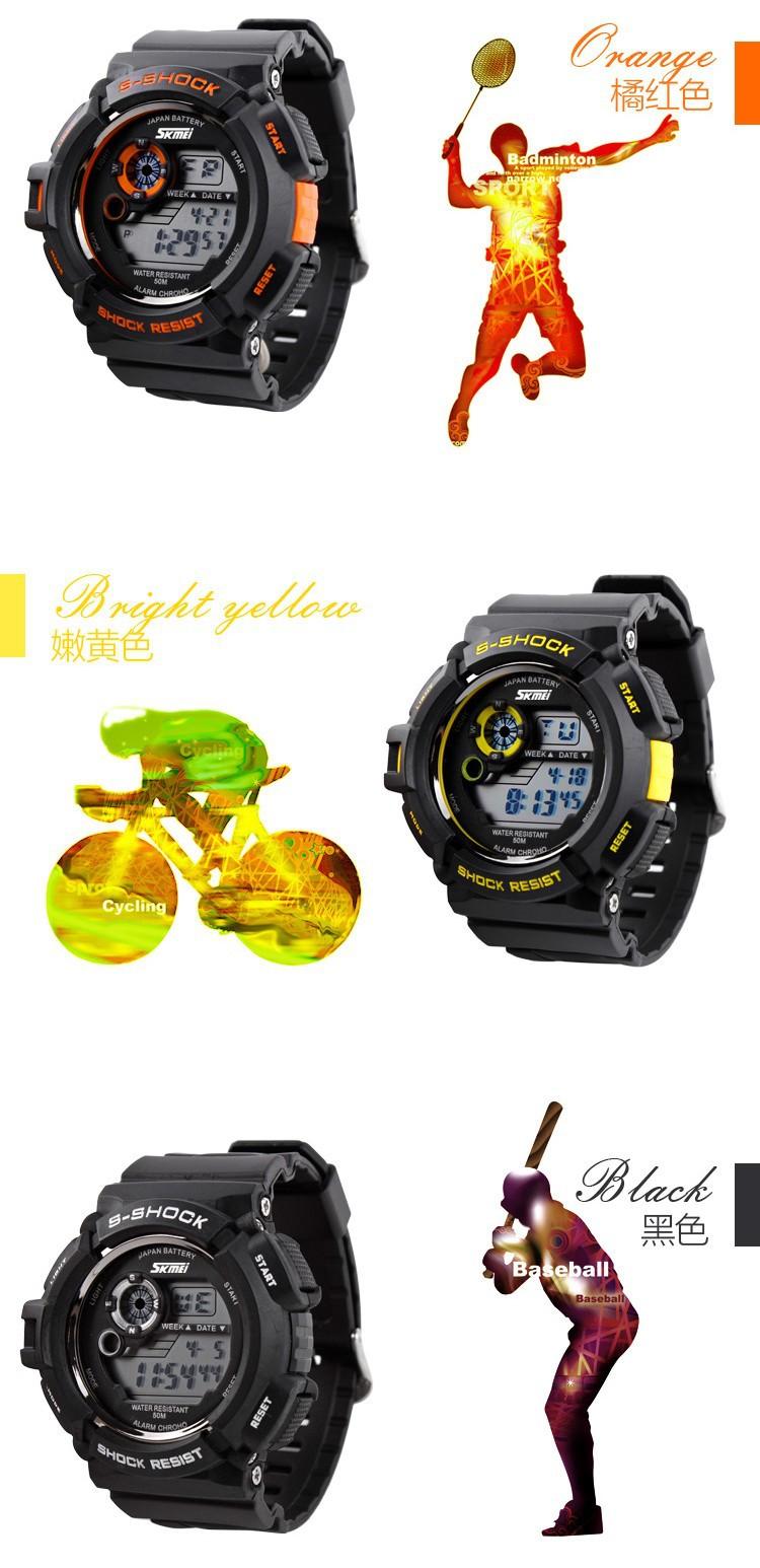Горячая Спорт На Открытом Воздухе Мужчины Часы Будильник Водонепроницаемый Противоударный Многофункциональный Восхождение Электронные Часы мальчиков Наручные Часы Для Дайвинга